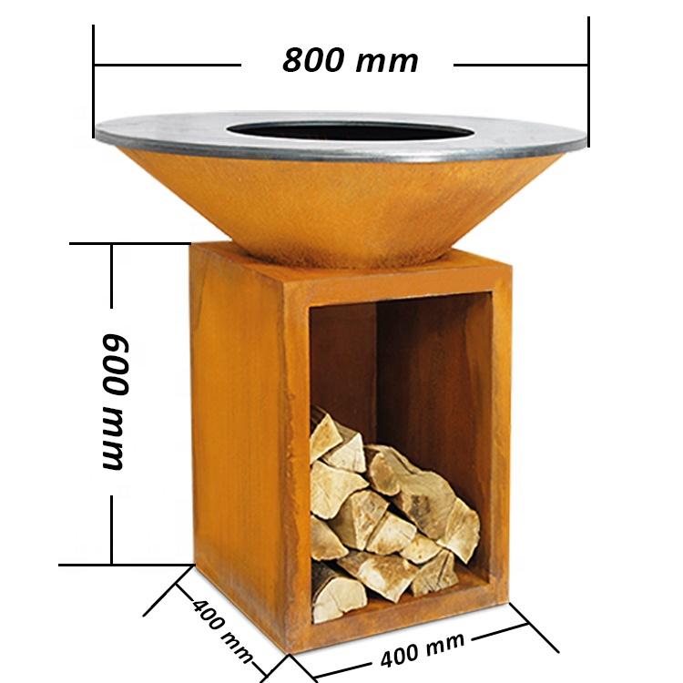 2021 г., новые тренды, барбекю-гриль из кортеновой стали, пожарный стол