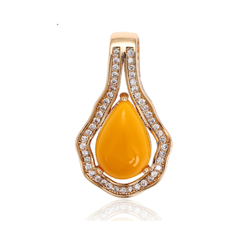 32569 xuping 18k gold plated yellow drop-shape fashion gemstone pendant