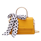 2020 Spring Summer Personality Dazzle Fashion Color Female Mini Shoulder Crossbody PU Leather Bag with Scarf Handbags for Women