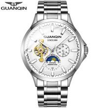 GUANQIN 2020 бизнес часы Мужские автоматические светящиеся часы мужские турбийоны водонепроницаемые механические часы Топ бренд relogio masculino(Китай)