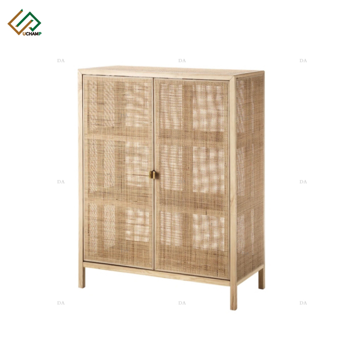 Modern Nordic Style Wood Cabinet 4 Side Rattan Cabinet Storage