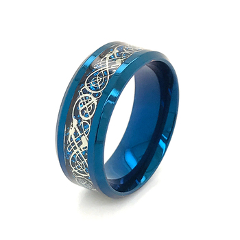 Blue Plated Men Jewerly Stainless Steel Ring Inlaid With Dragon Blade