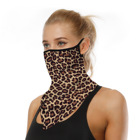 Sports Leopard Print Hiking Fishing Bandana Neck Triangle Cycling Face Scarf With Ear Loop Outdoor Half Face Cover