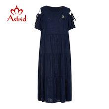Женское платье с блестками Astrid, длинное платье из хлопка и льна на кнопках с коротким рукавом на весну-лето 2020(Китай)