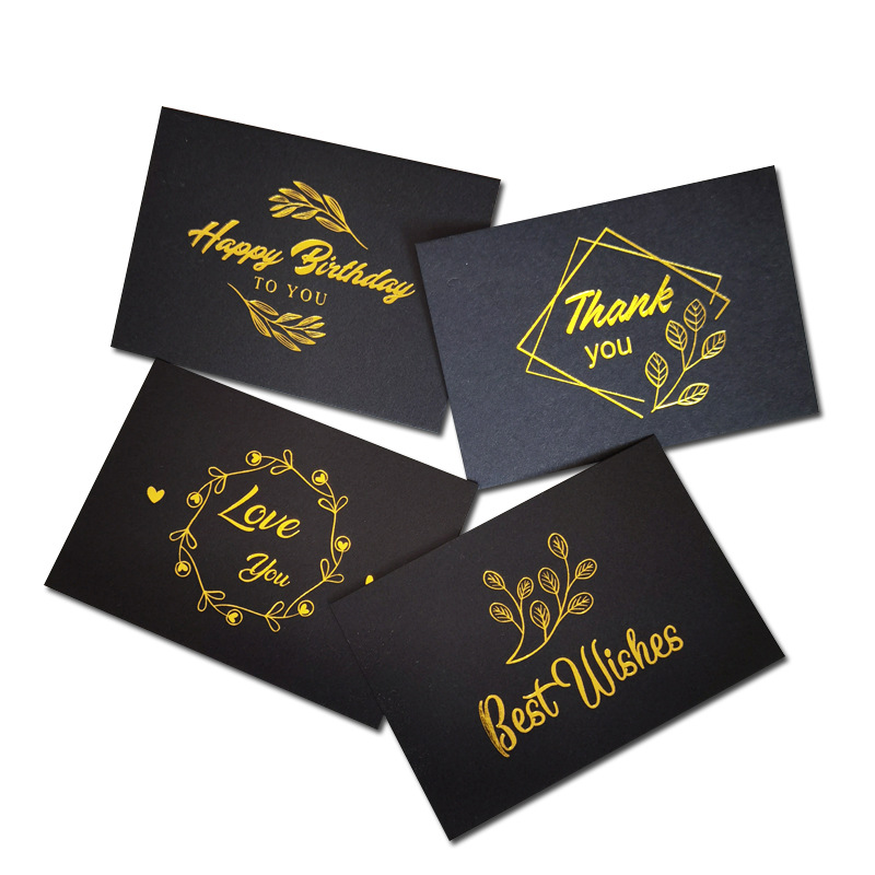 Custom Logo Recycled Paper Visit Card Printing Gold Pink Black Small Buisness Thank You Cards With Foil Envelopes