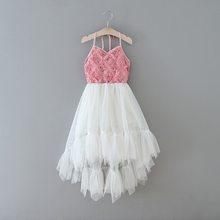 Платье с цветочным узором для девочек; Новинка 2020 года; стильные Бальные платья с блестками для свадебной вечеринки; детская одежда; E17128(China)