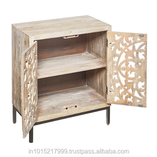 Antique Indian Carved Mango Wood Handmade Design Natural Whitewash Cabinet