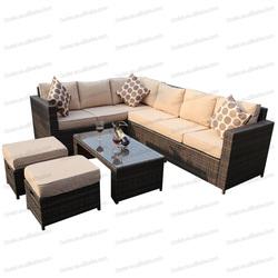 8 местный L-образный балкон, плетеные садовые секции, уличная тростниковая мебель, наборы диванов из ротанга