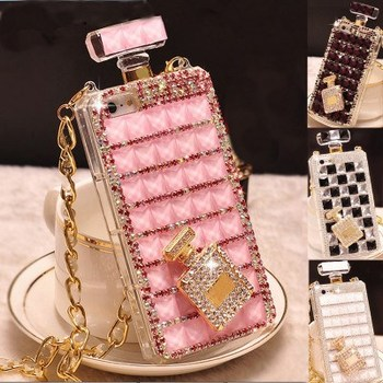 Bling Diamond Rhinestone Crystal Perfume Bottle Phone Case For iPhone Xs Max 12 Pro Max With Chain