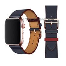 Ремешок из розового золота с пряжкой для Apple Watch, 38 мм, 42 мм, 44 мм, 42 мм, кожаный Одноконтурный браслет для iWatch Series 5, 4, 3(Китай)