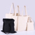 Shopping Bag Shopping Bag Cotton Custom Logo Design Reusable Foldable Cotton Canvas Drawstring Shopping Tote Bag Sets