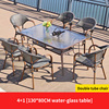 6 Teslin double leg chair 1 glass rectangle table 130cm