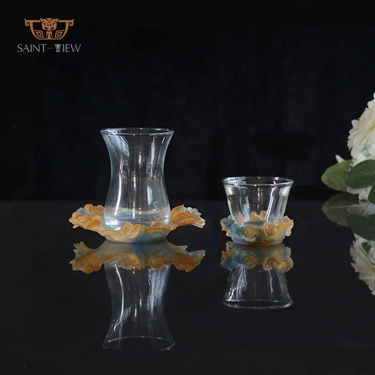 Crystal Glass Arabic Tea Cup With Rose Flower Saucer