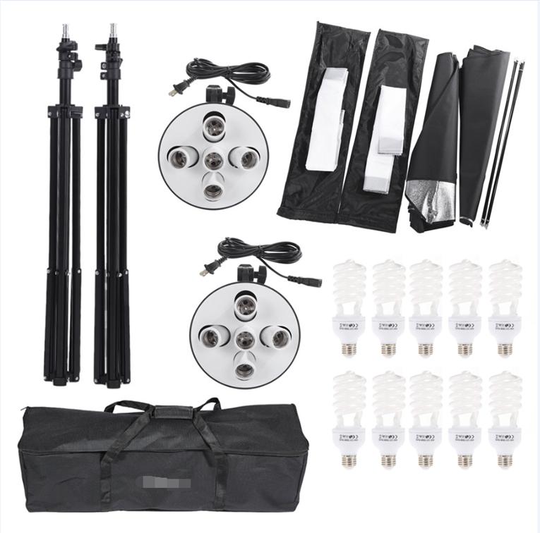 photography Studio Softbox Kit Photo Lighting Five-capped Lamp Holder Lighting+ 50*70cm Softbox+2m Light Stand Photo Soft Box