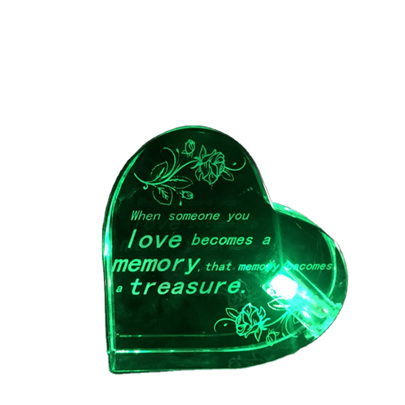 Heart-shaped clear acrylic crystal craftwork with customized logo or pictures, new type acrylic paperweight with green LED light