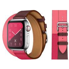 Браслет-Петля из натуральной кожи ремешок для Apple Watch 5 4 42 мм 38 мм 44 мм 40 мм ремешок для IWatch 5 4 3 2 мужской женский браслет(Китай)