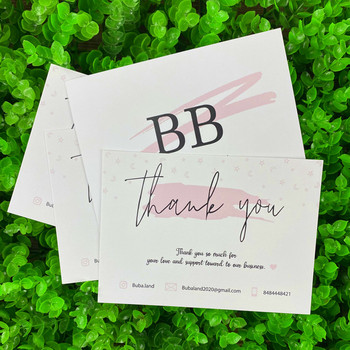 Custom Mini Package Insert Brush Watercolor Business Ecommerce Thank You Cards For Customers