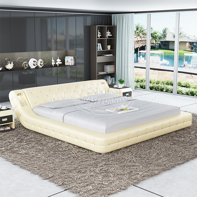 Hot Selling Italian Style Simple Design Superior Imported Leather Upholstery Bedroom Sectional Sofa Bed Frame