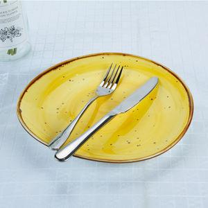 High quality color glazed rustic modern stoneware plates restaurant ceramic porcelain dish plate