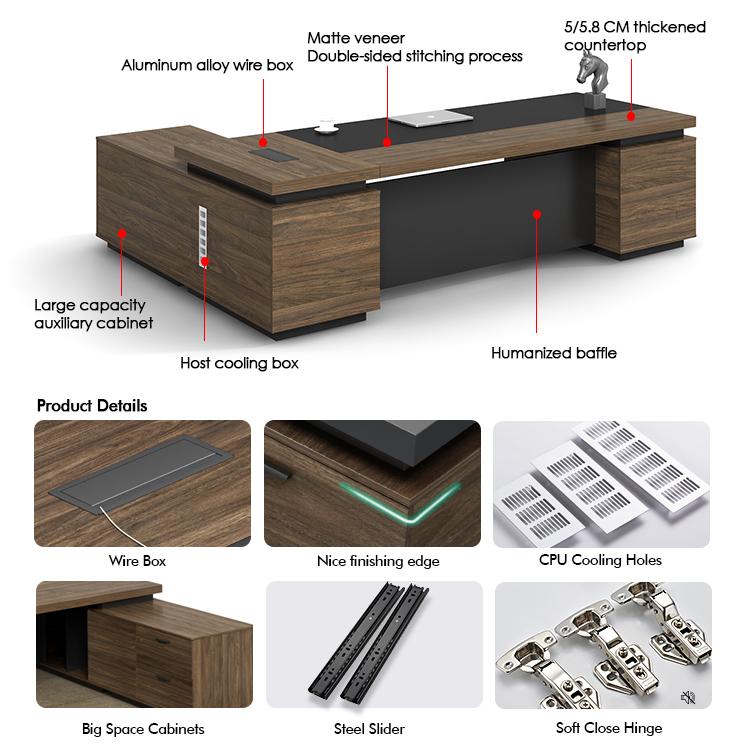 Роскошный генеральный менеджер L-образный деревянный стол для руководителя современный офисный стол для офисной мебели