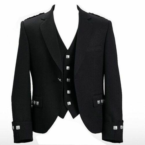 Homme écossais Argyle /& Prince Charlie Kilt Gilet//Gilet noir 3 /& 5 Bouton