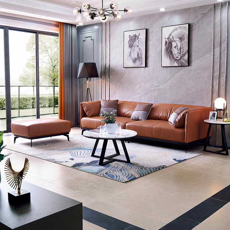 Luxury wood lounge 4 seats sectional big real cow leather sofa italian genuine leather sofa living room furniture