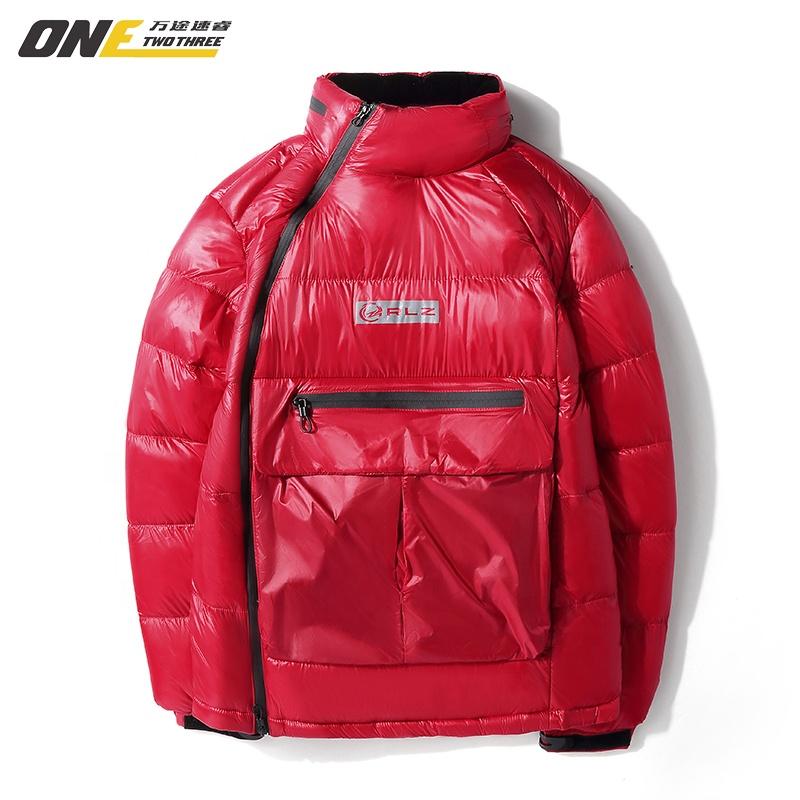 Мужская зимняя пуховая куртка, черная или красная водонепроницаемая пуховая куртка с капюшоном, блестящая теплая пуховая куртка, 2020