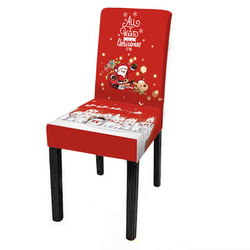 Polyester Holiday Back Christmas Decoration Custom 3D Printing Chair Table Cover Dining Room