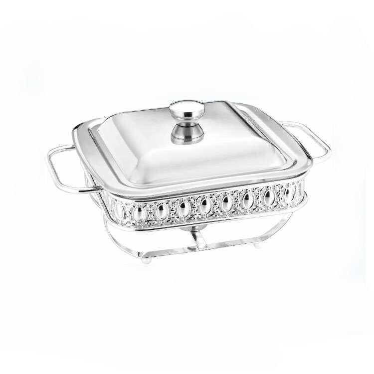 Luxury 1.8L Rectangle Metal Food Warmer Gold Silver Buffet Chaffing Dishes for Wedding