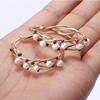 Pink glass beaded gold wire-wrapped