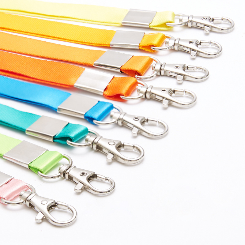 Colours Lanyards With Logo Custom Zinc Alloy Metal Id Card Holder Lanyard Polyester Swivel Snap Hook Lanyard For Keychain