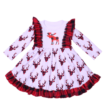 2019Girl winter clothes smocked children clothing Christmas deer prints twirl dress milk silk long sleeve girl party frocks new