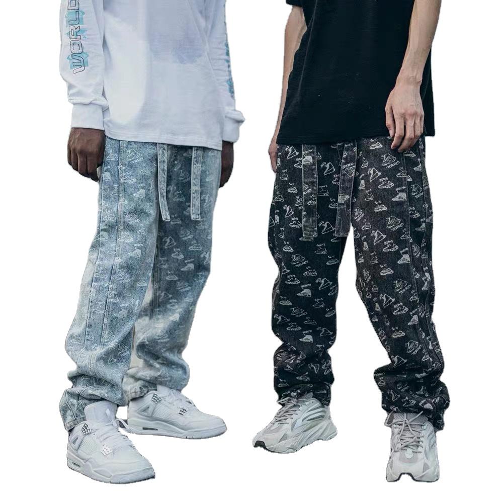 Custom Logo New Men Denim Pants Usa Casual Softness Stylish Printed Pattern Loose Mens Baggy Stacked Jeans