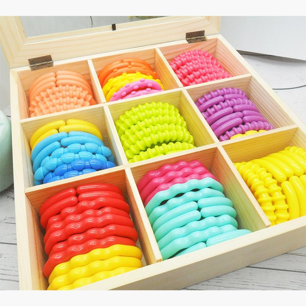 LP пластиковые кольца, детское кольцо для прорезывания зубов с деревянной коробкой