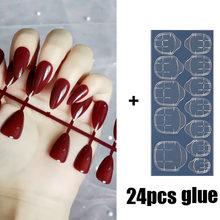 Nusx одноцветные накладные ногти искусство красивые УФ накладные ногти с клеем для женщин длинные наклейки для ногтей девушки остроконечные ...(Китай)