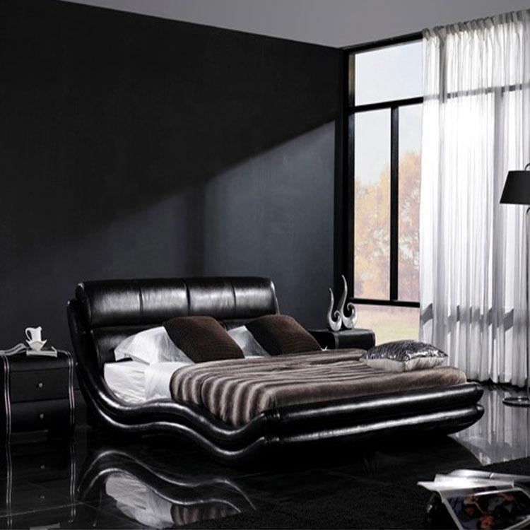 Wavy black high headboard king size PVC bed bedroom furniture