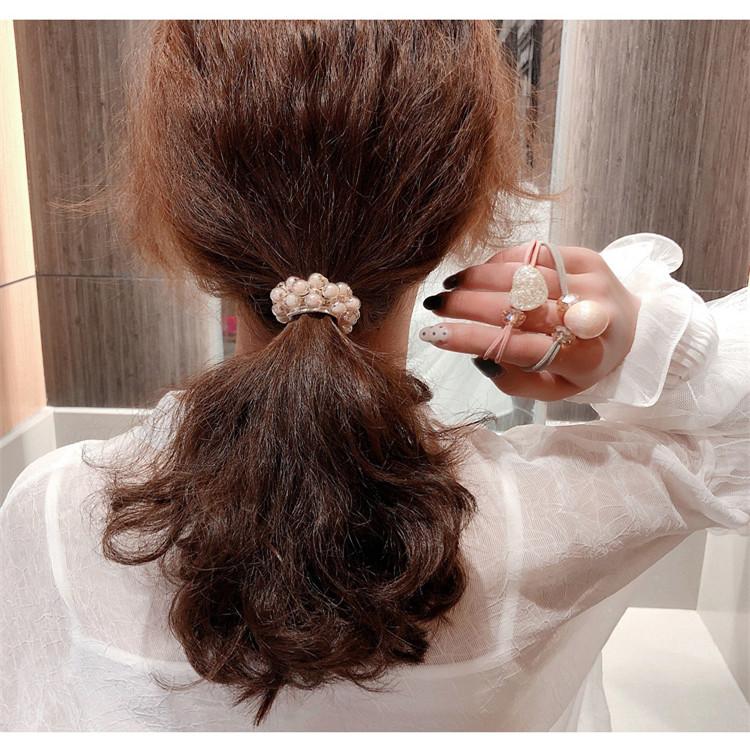 Korea ins head rope bracelet dual-use headdress Korean version of the cute hair ring simple pearl hair rope rubber band