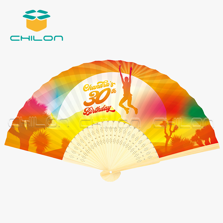 Personalized printed bamboo hand fan with your logo