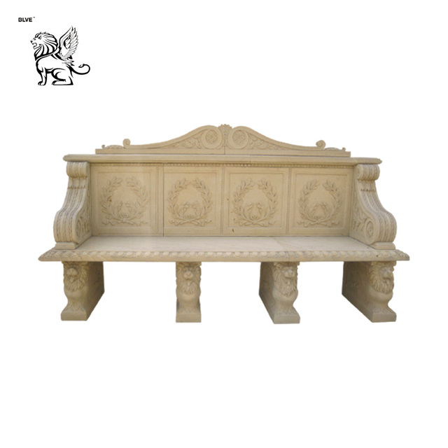 Classic Outdoor Stone Garden Products Hand Carving Granite Marble Park Bench for Sale