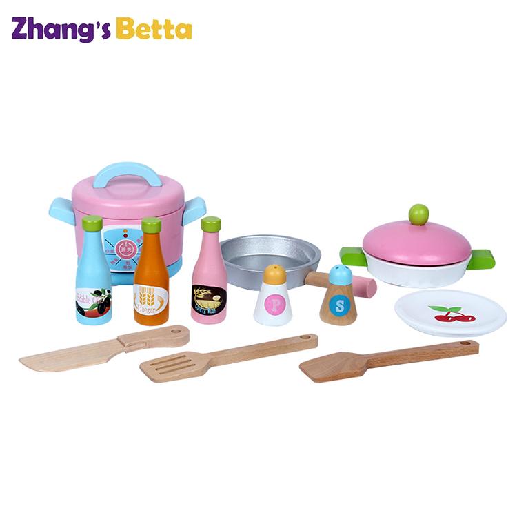 Набор деревянных кухонных аксессуаров для девочек, деревянные кухонные игрушки для детей, фригер