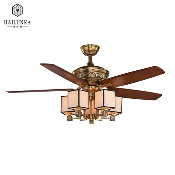 Nordic Modern Solid Wood Blades Copper Remote Control Ceiling Fan With Light