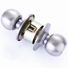 Metal Door Lock For Doors Metal Door Lock Durable Use Brushed Metal Stainless Steel Spherical Knob Door Cylinder Lock For Household Doors