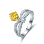 Ring Engagement S925 Sterling Silver Luxury 1.0CT Moissanite Rare Yellow Diamonds Ring Crown Settiing Engagement Wedding Party Jewelry