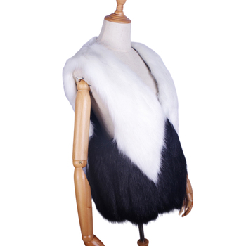 High quality faux fox fur vest Stitching vest Wavy hem women winter vest customized