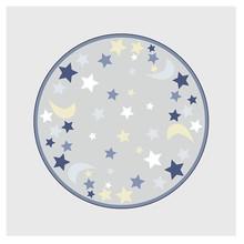 Детский круглый ковер, синий, серый, принт звезды, луна, детский коврик, бархатный нескользящий коврик, мягкий домашний ковер для спальни, бо...(Китай)