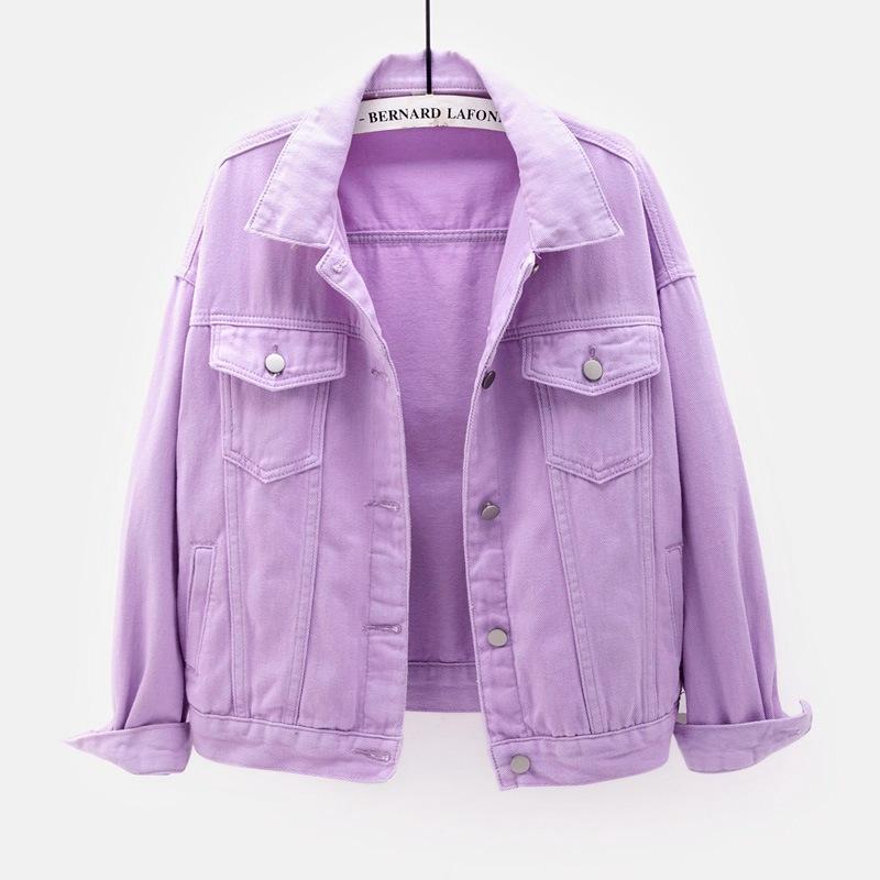 Изысканная Модная Джинсовая куртка, ветрозащитная фиолетовая куртка, Женская нефирменная розовая джинсовая куртка