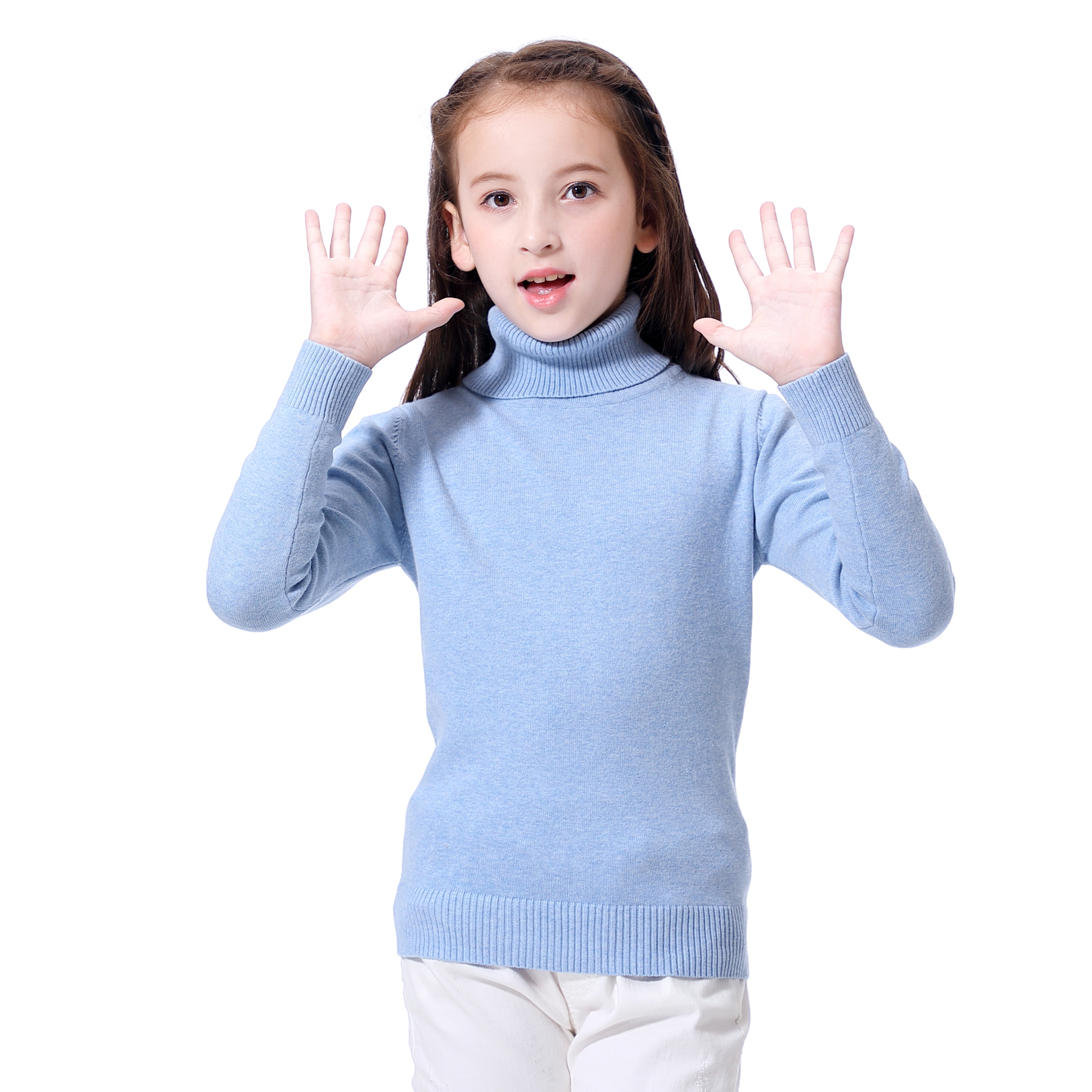 KID1234 Boys Long Sleeve Turtleneck Sweater High Collar Crew Neck Pullover Casual Knit Cotton Warm Sweater