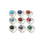 Different colors natural gem gold plated cz stone pave men rings model jewelry
