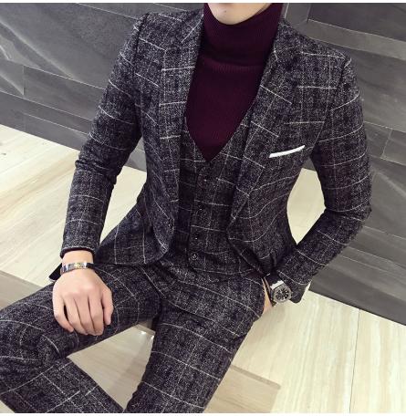 Роскошный костюм из 3 предметов, мужской костюм, новейший дизайн пиджака, модный клетчатый Свадебный костюм, смокинг, мужской костюм (Блейзер + жилет + брюки)
