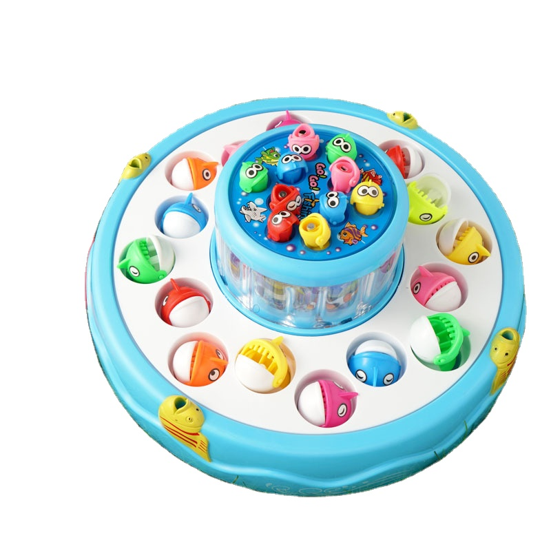 Kids Plastic Games Electric 26 Fishes Double-deck Fishing Toy with Music Fishing Game for Baby Gift Cake shape